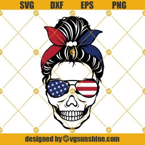 American Flag Messy Bun Skull Svg