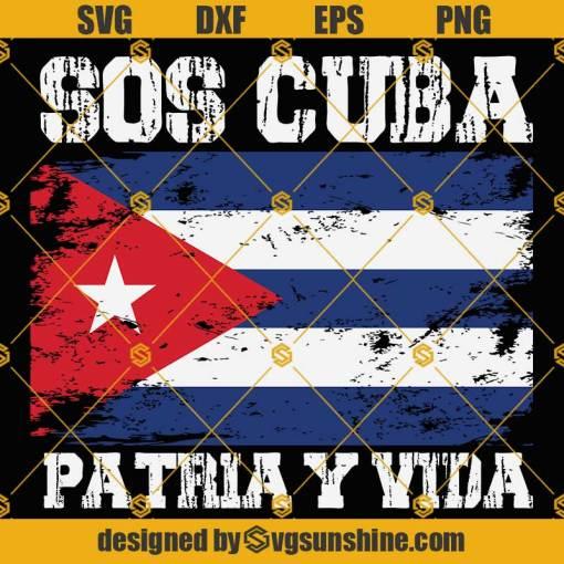 SOS Cuba Patria Y Vida SVG, Cuba SVG, Cuba Flag SVG