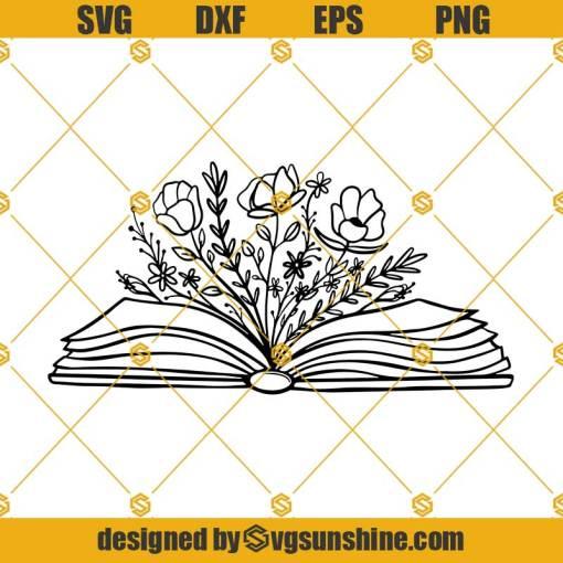 Floral Book SVG, Book With Flowers Svg, Best Floral Art Books Svg