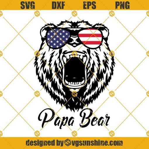 Papa Bear USA Flag Glasses SVG, 4Th Of July Bear SVG, Papa Bear SVG, Fourth of July SVG, Papa SVG