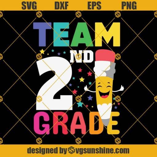 Team 2nd Grade Pencil Back Svg, Graduation Svg, Kindergarten Svg, Pre K Svg, Back To School Svg