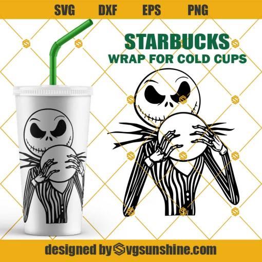 Full Wrap Jack Skellington Starbucks Cold Cup SVG, Jack Skellington SVG, Starbucks Wrap SVG