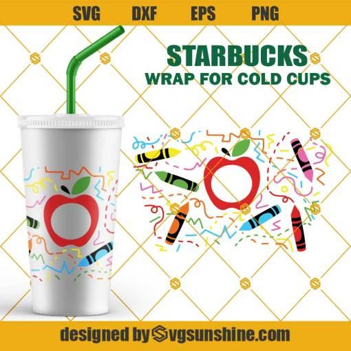 Teacher Full Wrap For Starbucks Cold Cup SVG, Apple SVG for Starbucks Cups SVG