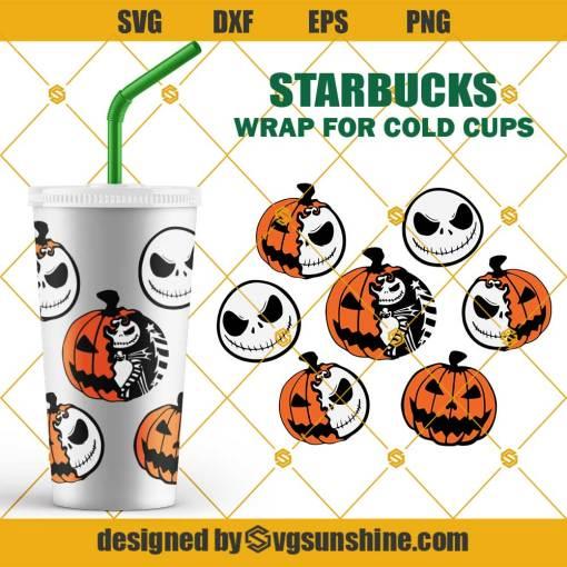 Pumpkin King Starbucks Cold Cup SVG, Jack Skellington Starbucks SVG, Full Wrap for Starbucks Venti Cold Cup SVG