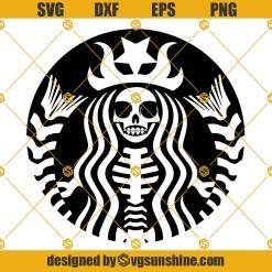 Starbucks Skeleton SVG, Starbucks Skeleton Cut Files, Coffee Lover Gothic Starbucks Halloween SVG