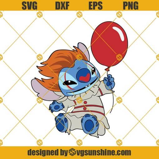 Pennywise Stitch Halloween SVG, It Movie Halloween SVG