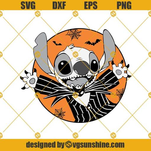 Stitch Jack Skellington SVG, Halloween SVG DXF EPS PNG, Nightmare Before Christmas Cricut , silhouette