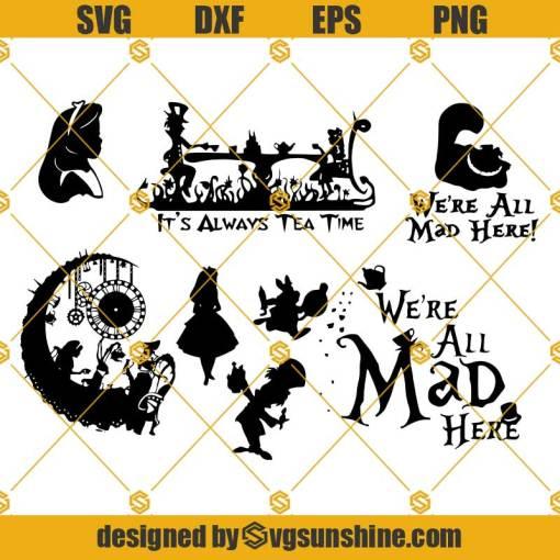 Alice In Wonderland SVG Bundle, Mad Hatter SVG, We're All Mad Here SVG, Disney Alice SVG For Cricut Silhouette