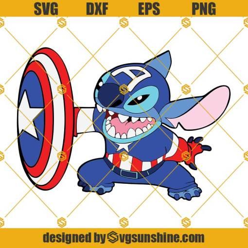 Stitch Captain America SVG, Stitch Superhero SVG, Captain America SVG, Stitch SVG