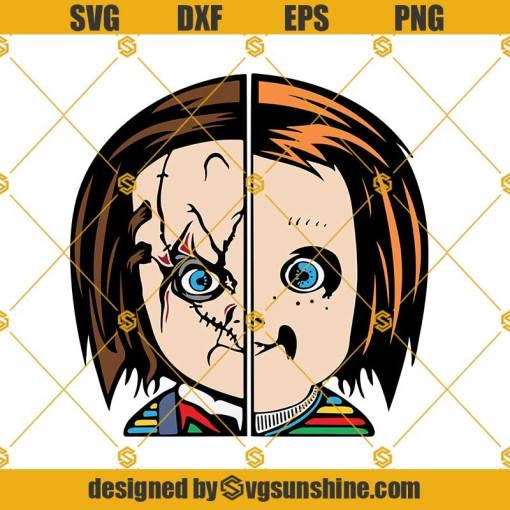 Angel and Demon Chucky Face SVG, Chucky Doll SVG, Chucky SVG PNG DXF EPS