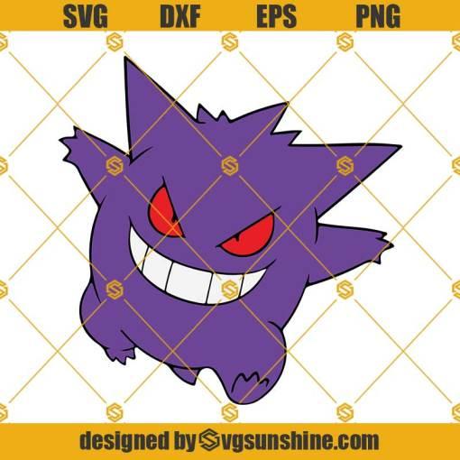 Gengar Pokemon SVG Layered, Cricut Silhouette, Pokemon SVG