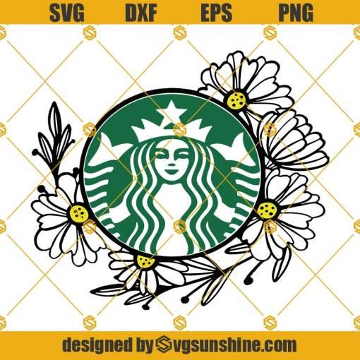Flower Starbucks Cup SVG, Starbucks Cup Floral Decal SVG, Starbucks Floral Personalized Name SVG