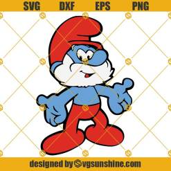 Papa Smurf Layered SVG, Papa Smurf SVG, Smurf SVG PNG DXF EPS Cut Files For Cricut Silhouette Cameo