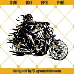 Biker Grim Reaper SVG Death SVG, Horror Skeleton Skull Bones Evil Hell Killer Tattoo Cutting File Clipart Vector Digital