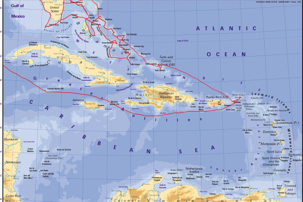 route on a caribbean map