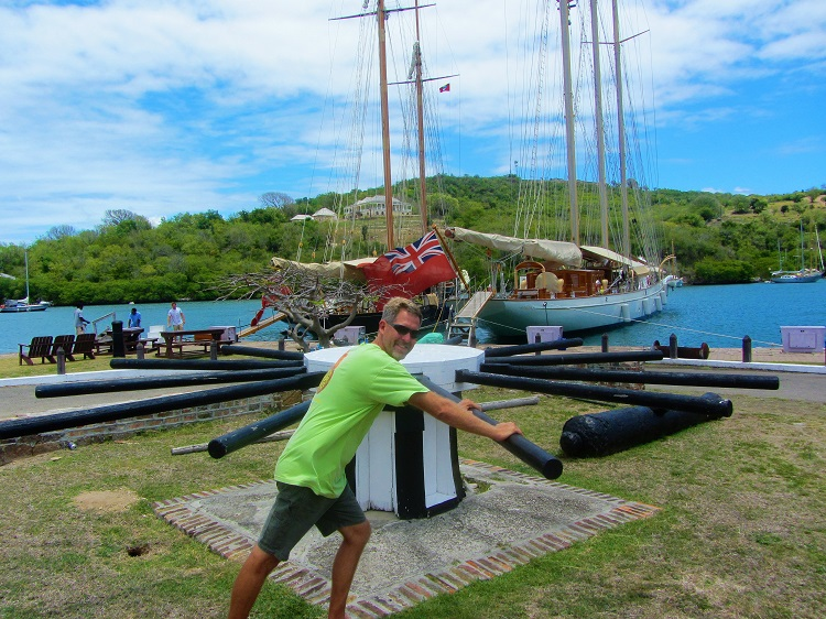 Me working the capstan at Nelson's Dockyard