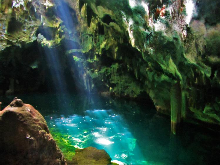 Gaspar Island cave with a pond