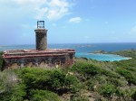 The lighthouse on Culebrita with the anchorage in the background