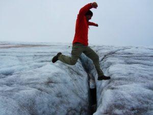 Iceland - 7 Snaefellsjokull NP - Me Jumping Crevis