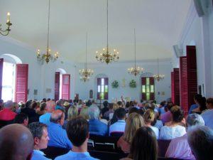 Interior of church on St Barts