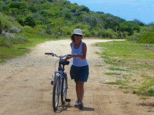 Melek biking in Barbuda