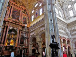 The cathedral inside Mezquita