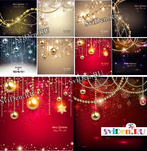 Новогодние фоны с праздничным блеском - Векторный клипарт