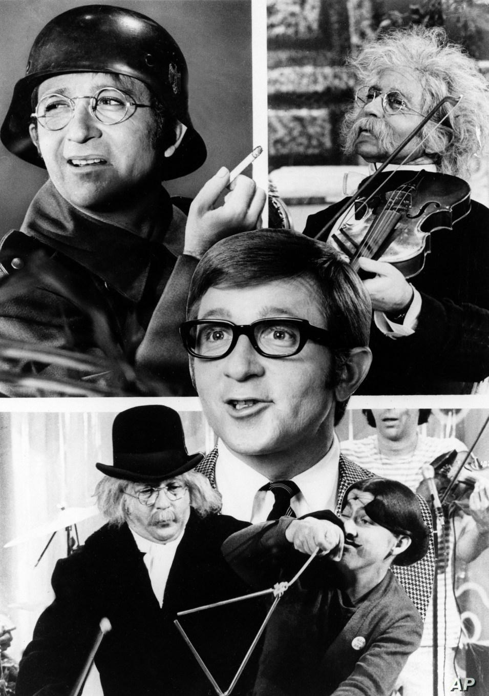 "The many faces of comic actor Arte Johnson of ""Rowan and Martin's Laugh-In"" are seen, March 1969.  (AP Photo)"