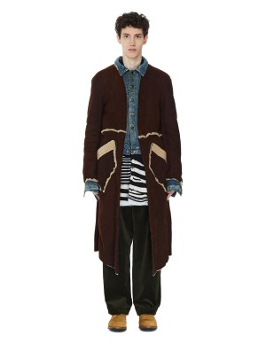 Greg Lauren Mixed Layered Shearling Coat