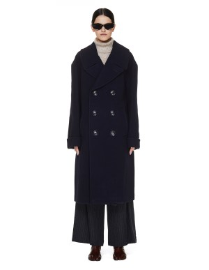 Y's Navy Double Breasted Coat