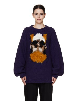 Doublet Purple Embroidered Wool Sweater