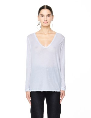 James Perse White Cotton Long Sleeve T-Shirt