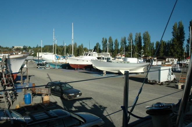 Early morning at the Port of Port Townsend boatyard, with its always eclectic collection of projects and interesting characters.
