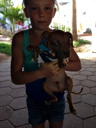 Girl with puppy, La Ventana, Mexico