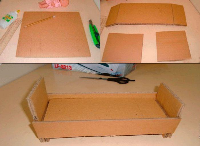 Κρεβάτι για κούκλες από κύρια κλάση χαρτονιού