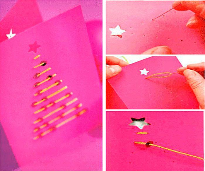 открытка с новым годом розовая с нитками своими руками