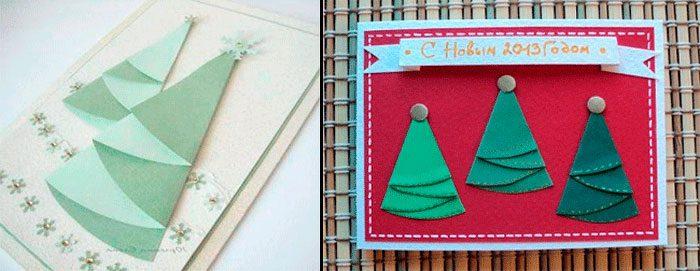 Новогодняя открытка с ёлочкой из салфетки