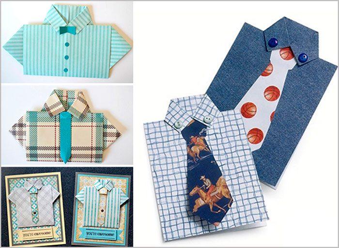Vous aurez besoin de: Color Cardboard Format A4, Ciseaux, Ligne, Colle, Marqueurs, Crayon simple, Éléments de décoration (bout à bout, dynamitage, threads). Classe principale Prenez un rectangle de carton et faites une incision en haut pour une largeur de 2 cm. Coupez des bords supplémentaires des bandes des deux côtés. Chemise de carte postale avec cravate Master Class Draw et coupez la cravate sur une autre feuille de carton. Cravate de bâton sous le col. Ecrivez un souhait et re-ajour à votre goût. Recommandé pour regarder la classe de master vidéo!