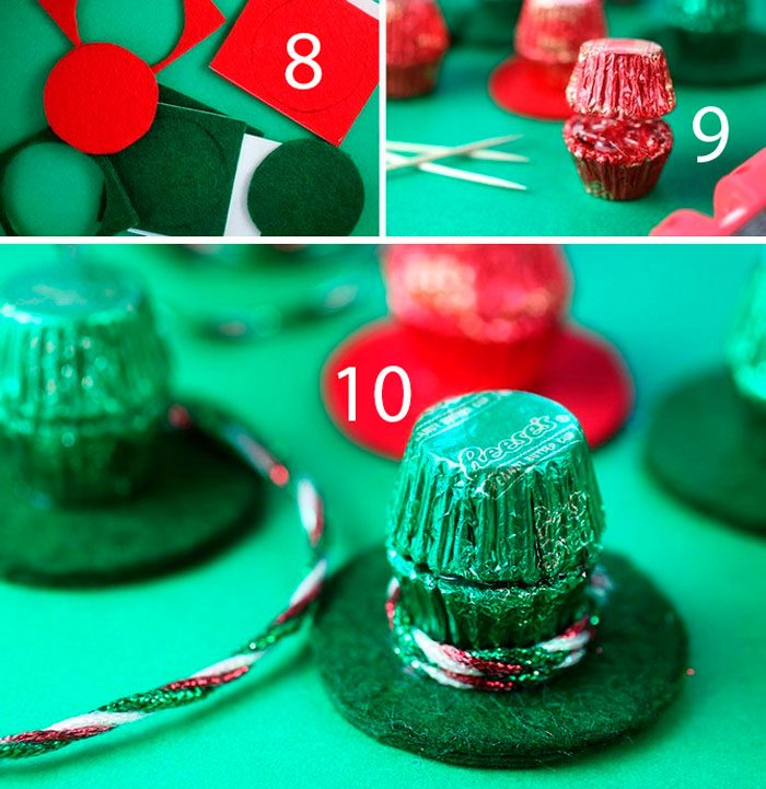 Snowman from candies step by step