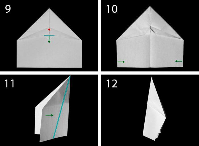 самолёт оригами пошагово