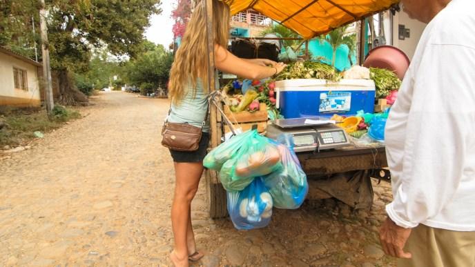 Buying fresh fruit and veggies off the Veggie truck