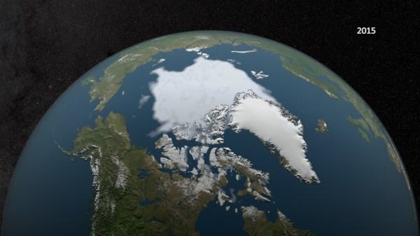 SVS Annual Arctic Sea Ice Minimum 19792015 with Area Graph