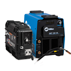 (3) Miller XMT 350 VS power source and X-TREME 8 VS SuitCase.