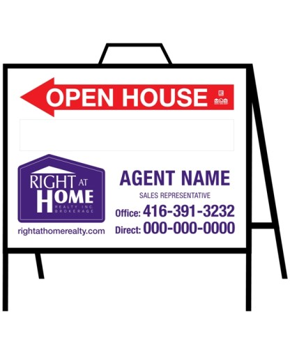 right at home open house sign