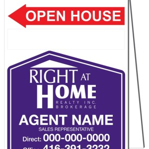 right at home open house sandwich board sign