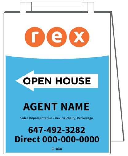 rex real estate sandwich board sign