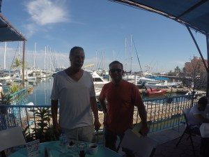 Pablo and Trevor and the Dock cafe in Marina de La Paz