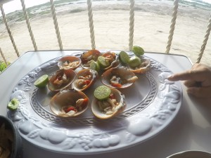 Chocolate clams...raw with lime juice