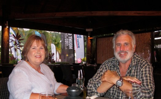 Ron and Jackie at Port Louis for a farewell dinner