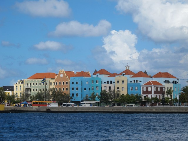 The pretty pastel buildings on the waterfront